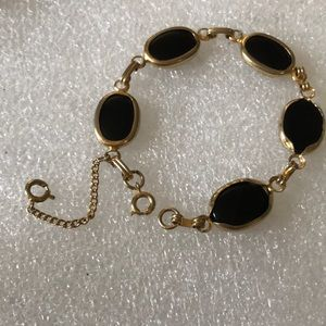 Antique onyx gold filled bracelet
